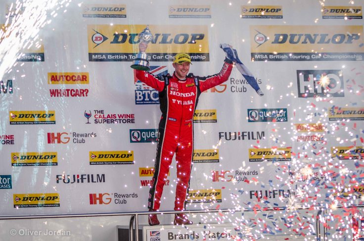 gordon shedden winning the overall BTCC trophy