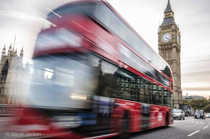 London bus and Big Ben.