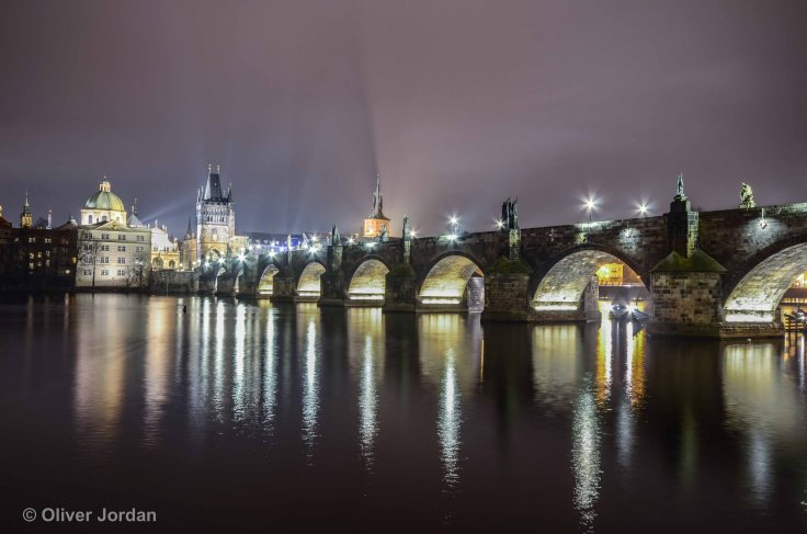 Charles Bridge at night. Prague.